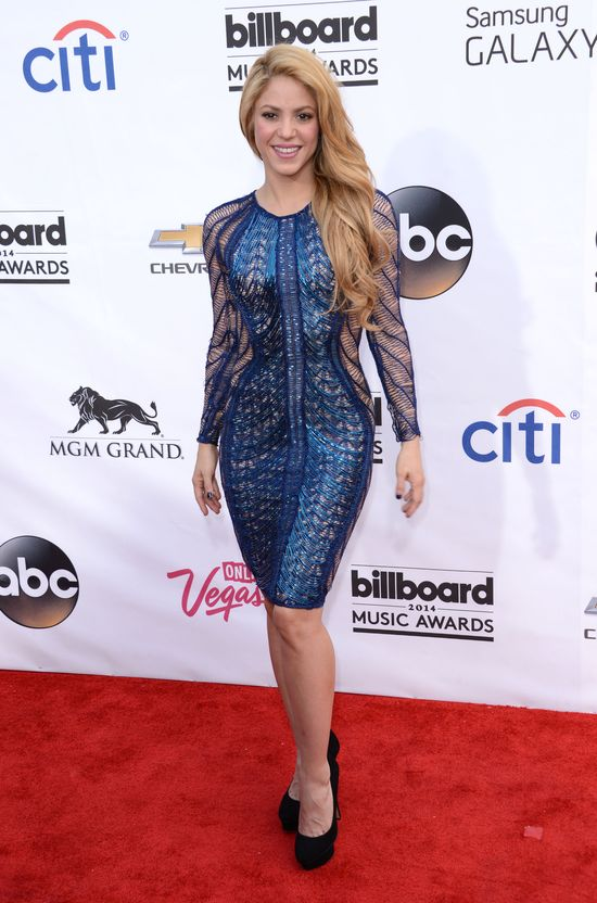 Shakira w turkusowej sukience, Billboard 2014.