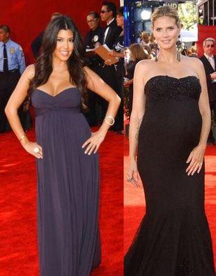 Heidi i Kourtney z brzuszkiem ciążowym na czerwonym dywanie