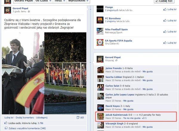 Gerard Pique dziękuje Polakom na Facebooku (FOTO)