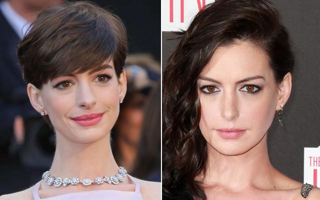 Anne Hathaway z grzywką i bez