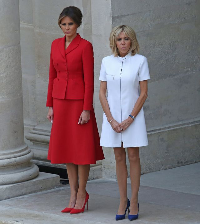 Brigitte Macron i Melania Trump podczas spotkania w Paryżu