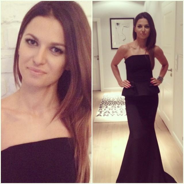 Anna Lewandowska w czarnej sukni na rozdaniu Róż Gali 2013 (