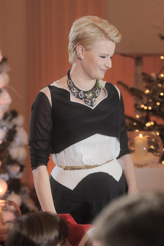 Małgorzata Kożuchowska na kolędowaniu u prezydenta, grudzień 2014.