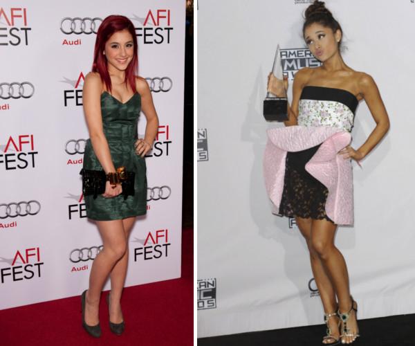 Ariana Grande w 2009 roku na AFI Fest Opening Night Gala i dziś.