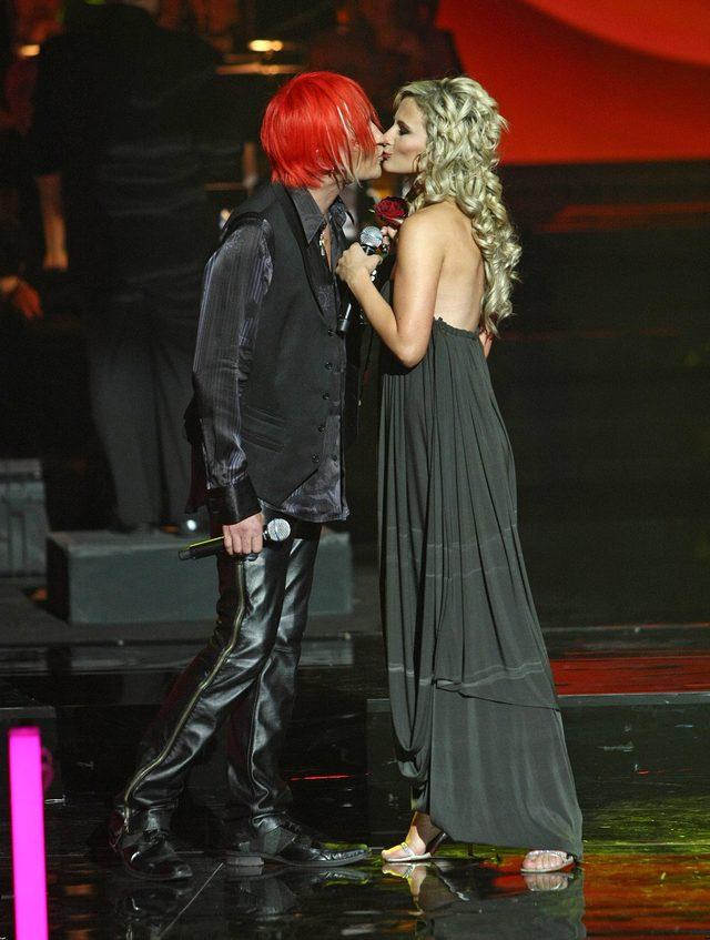 Anna Świątczak (Żeńca) i Michał Wiśniewski na jubileuszu 13-lecie Ich Troje, 2008 rok.