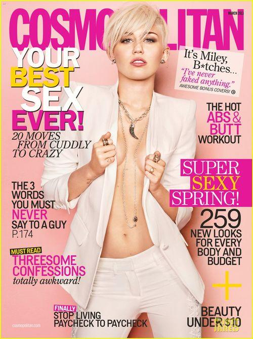Miley Cyrus w samej marynarce na okładce Cosmo (FOTO)