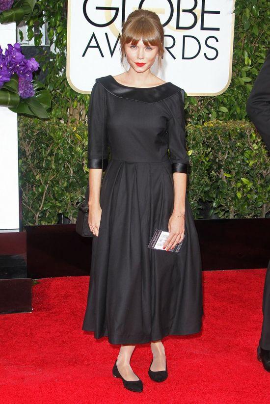 Agata Trzebuchowska w czarnej sukience na rozdaniu Złotych Globów 2015