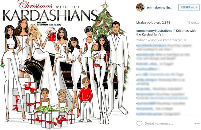 Nietypowa, rysunkowa kartka świąteczna Karadshianów