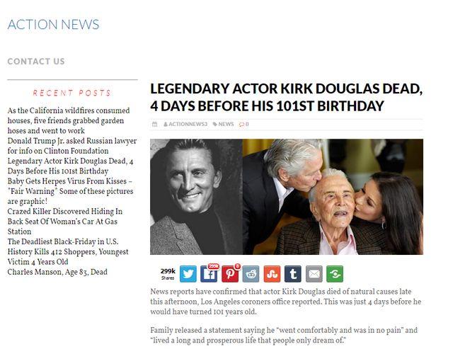 Kirk Douglas nie żyje?