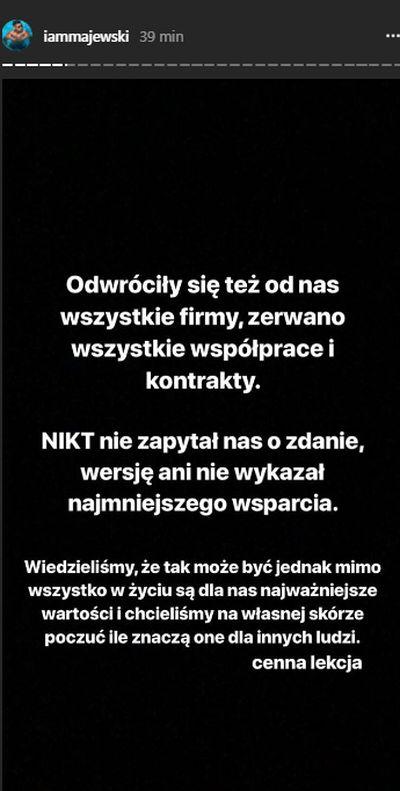 Daniel Majewski, chłopak Marity: Odwróciły się od nas wszystkie firmy