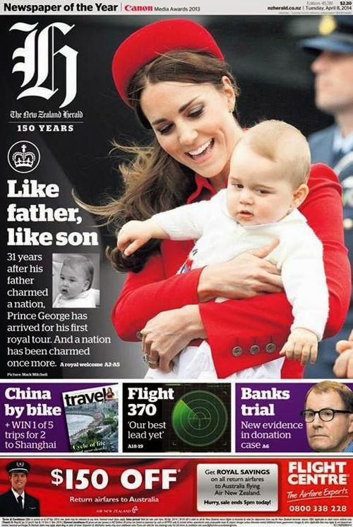 Książę Jerzy w ramionach mamy, księżnej Kate