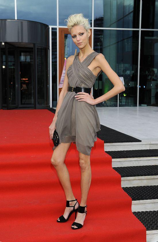 Anja Rubik w szarej sukience w 2008 roku