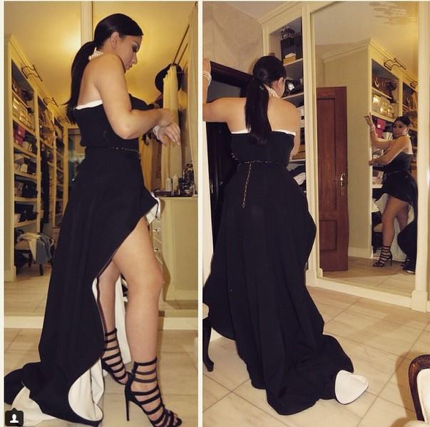 Wiktoria Grycan w czarnej asymetrycznej sukience
