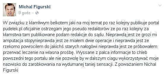 Michał Figurski wściekły na portale plotkarskie