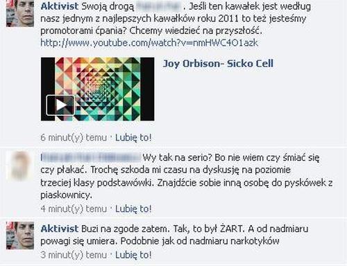 Czy na fanpage'u Aktivist promowano zażywanie narkotyków?