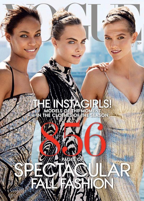 Okładka amerykańskiego Vogue - Joan Smalls, Cara Delevingne i Karlie Kloss - wrzesień 2014
