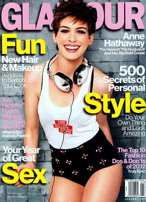 Seksowna Anne Hathaway na okładce noworocznego Glamour