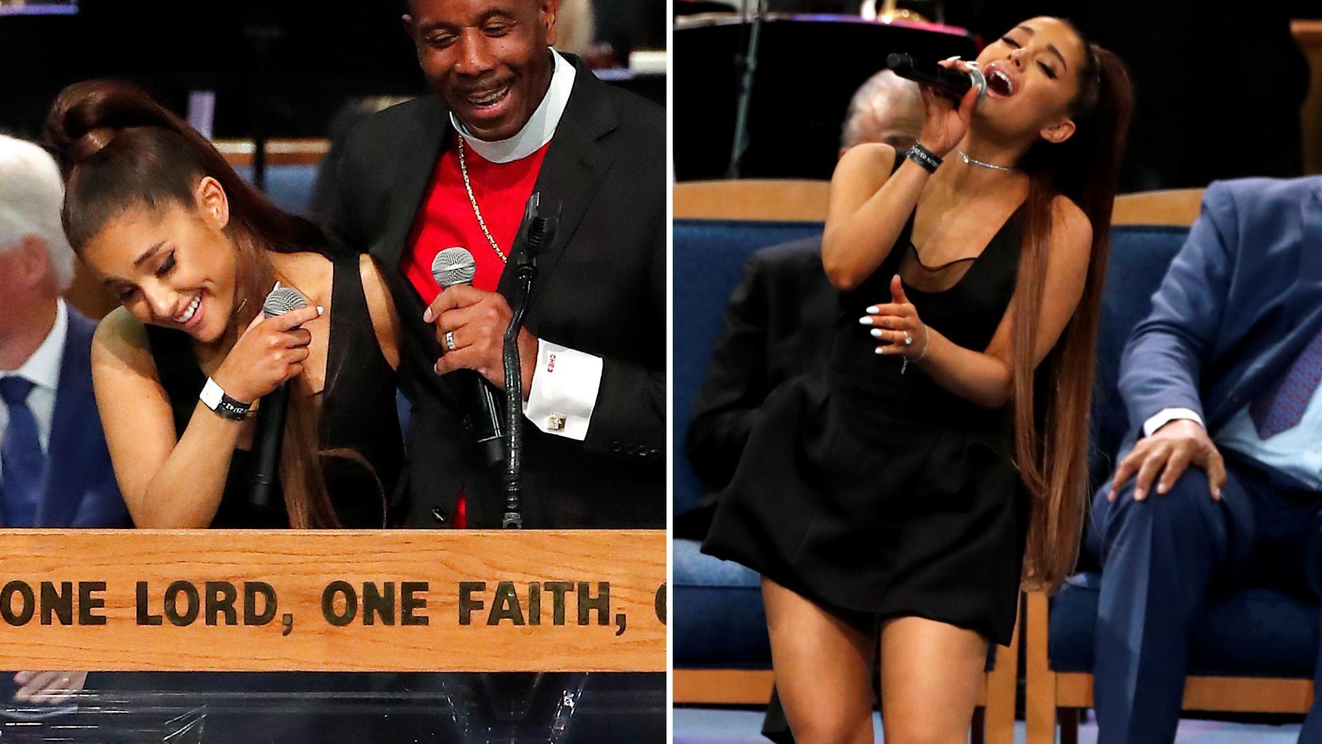 SKANDAL na pogrzebie Arethy Franklin – pastor OBMACYWAŁ Arianę Grande? (ZDJĘCIA)