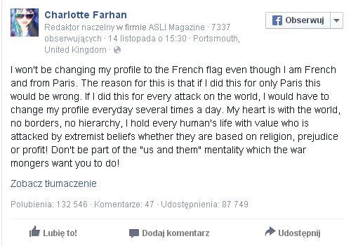 Ta Francuzka głośno mówi, że nie zmieni kolorów zdjęcia