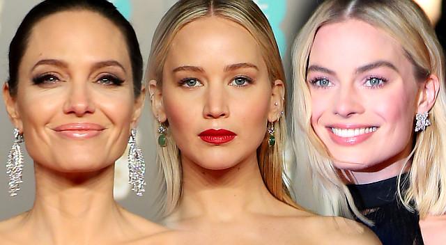 Angelina Jolie, Margot Robbie i Jennifer Lawrence w czerni na gali BAFTA