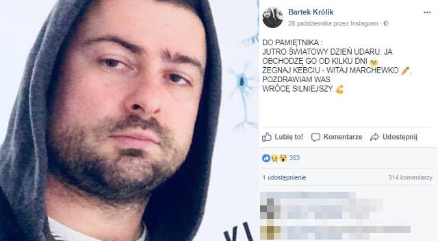 Bartek Królik, 38-letni muzyk, przeszedł udar