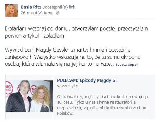 Basia Ritz zszokowana słowami Magdy Gessler