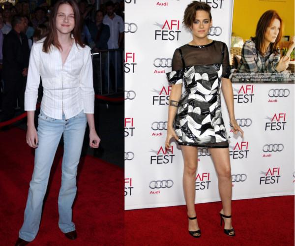 Kristen Stewart na początku kariery i dziś.