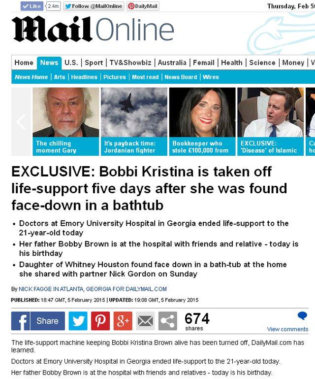 Odłączono aparaturę podtrzymującą życie Bobbi Kristiny Brown