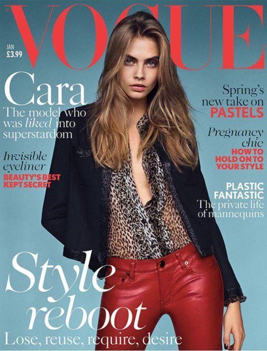 Cara Delevingne na okładce Vogue, grudzień 2013