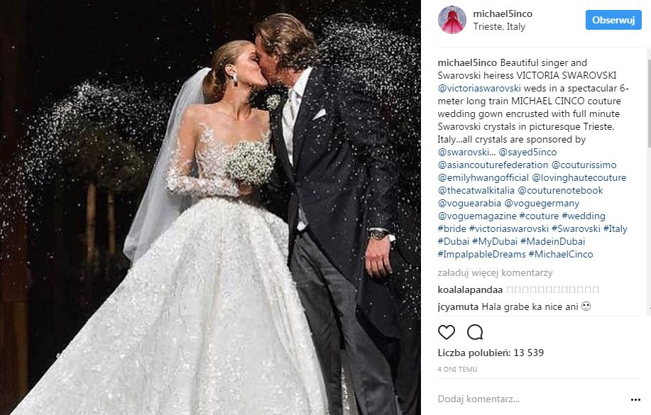 Victoria Swarovski wyszła za mąż w sukni zdobionej 500 kamieniami o wartości 3,5 miliona dolarów