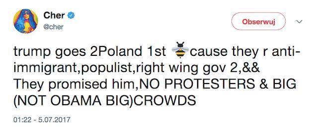 Cher kpi z wizyty Donalda Trumpa w Polsce i... obraża Polaków!
