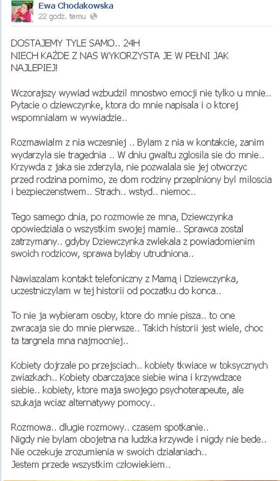 Chodakowska t�umaczy, jak sko�czy�a si� historia ze zgwa�con