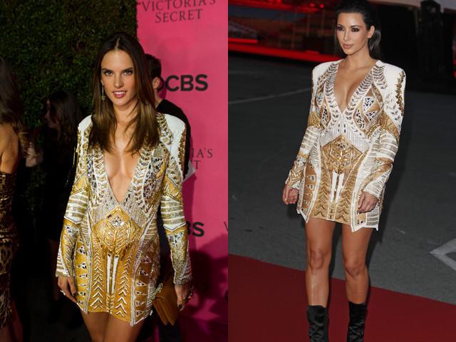 Alessandra Ambrosio i Kim Kardashian w złotych sukienkach Balmain
