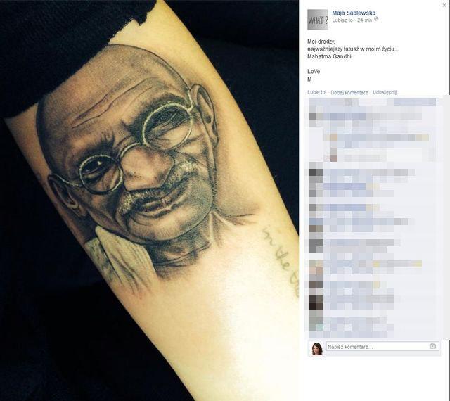 Maja Sablewska, tatua� Mahatma Ghandi