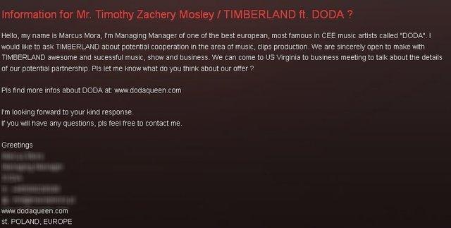 Menadżer Dody poprosił o współpracę z TIMBERLANDEM?