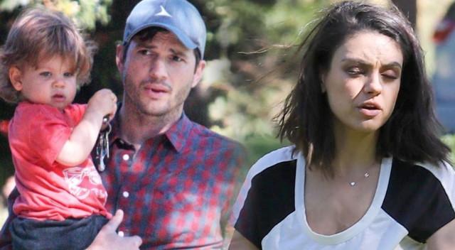 Zmęczeni Mila Kunis i Ashton Kutcher z dziećmi na placu zabaw (ZDJĘCIA)