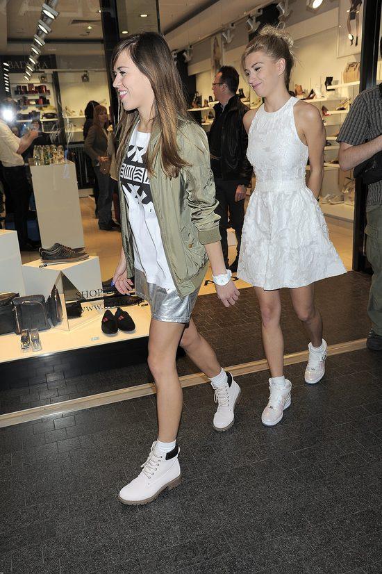 Siostry Bukowskie na pokazie nowej kolekcji butów.