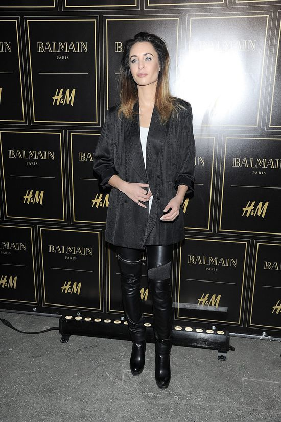 Agata Nizińska w czarnej marynarce na prezentacji kolekcji Balmain dla H&M