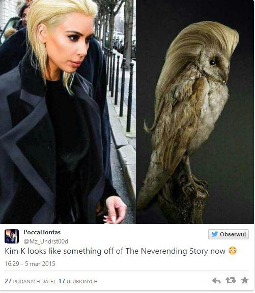 Kim Kardashian w marcu 2015 roku przefarbowała się na platynowy blond. Memy