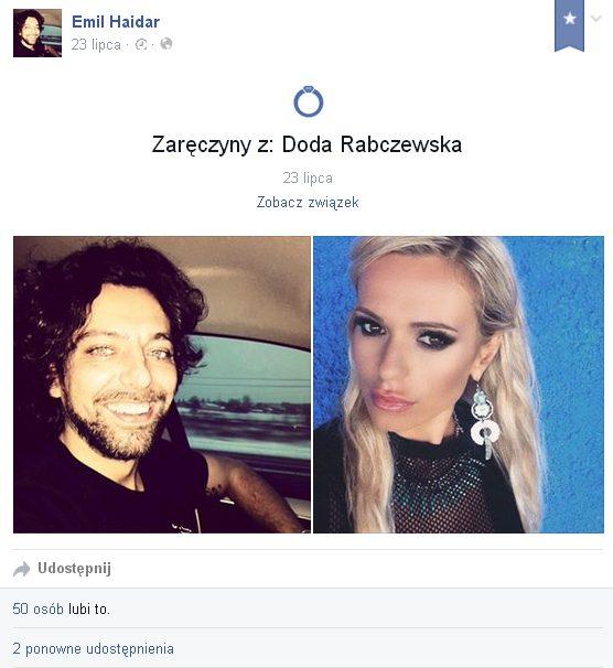 Doda zaręczyła się z Emilem Haidarem (FB)
