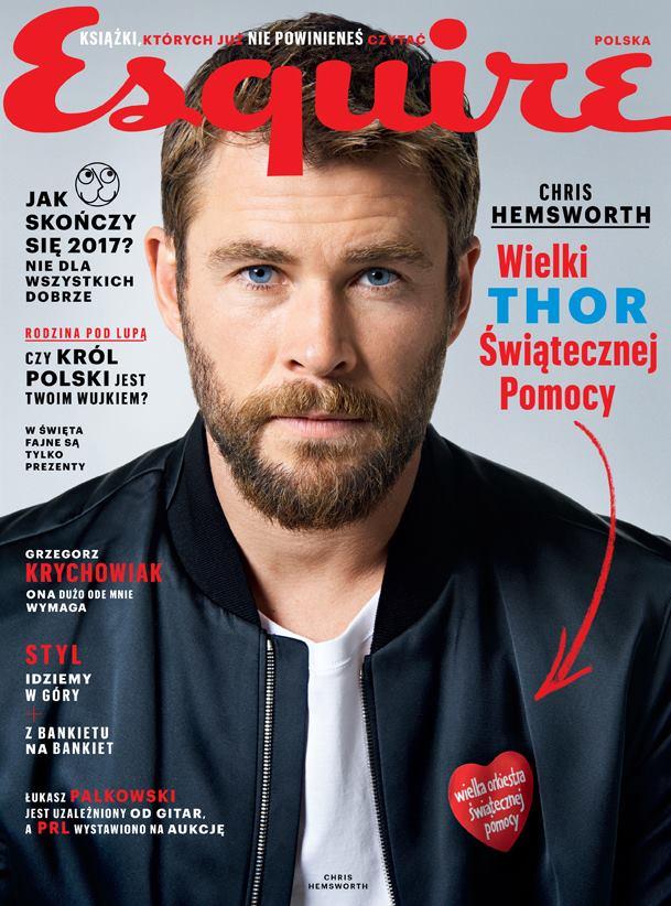 Chris Hemsworth z serduszkiem WOŚP na okładce nowego numeru ESQUIRE