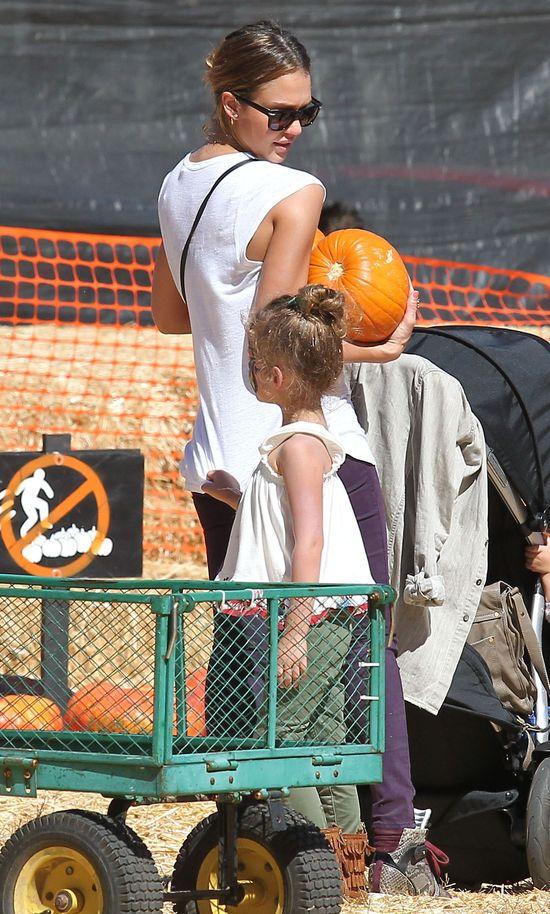 Jessica Alba z dziećmi kupuje dynie
