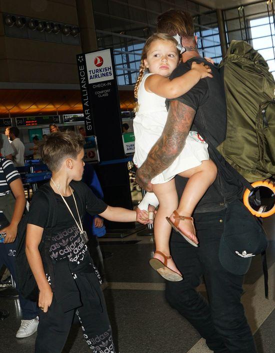 Harper Beckham w ramionach taty, sierpień 2014
