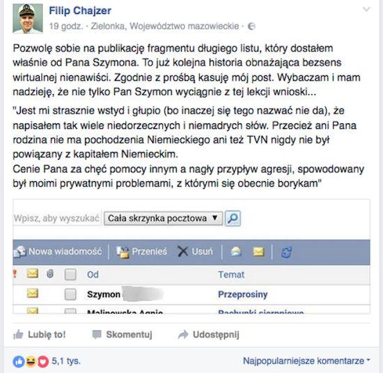 Władze SWJP reagują na wypowiedzi hejtera Filipa Chajzera