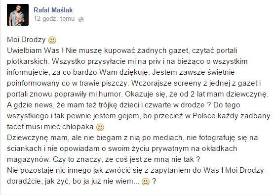 Rafał Maślak: Dziewczynę mam, ale...
