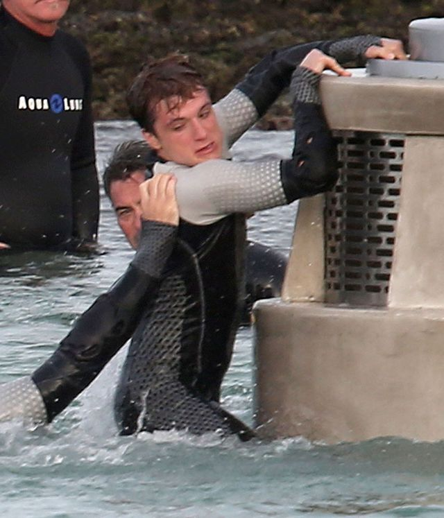 Jennifer Lawrence i Josh Hutcherson na planie filmu Catching