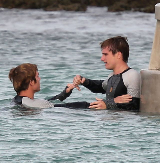 Jennifer Lawrence i Josh Hutcherson na planie filmu Catching