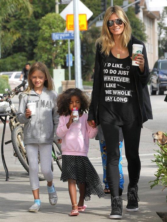 Heidi Klum zabrała dzieciaki na.. kawę (FOTO)