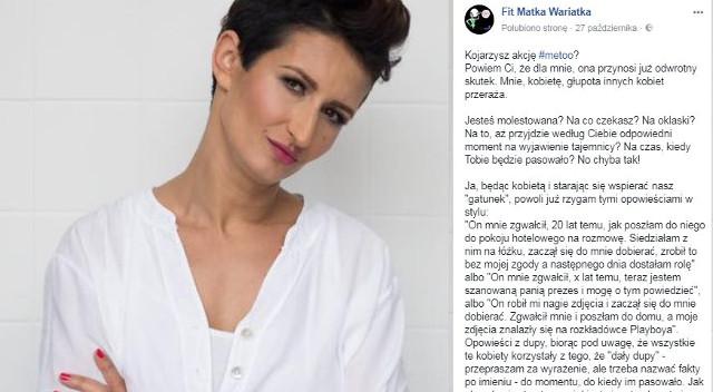 Fit Matka Wariatka sceptycznie o akcji #metoo. Jest BURZA (Facebook)