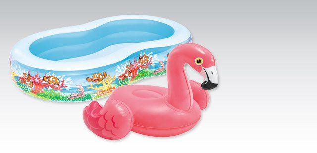Flamingi rządzą i są WSZĘDZIE. W Biedronce będą wyspy - flamingi na basen